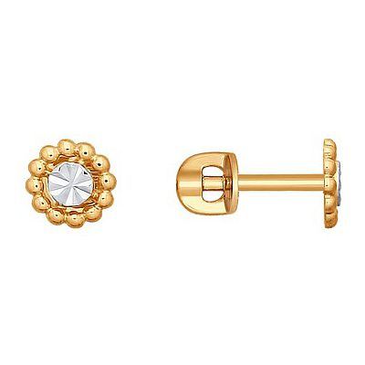Купить Золотые серьги 165864, Пуссеты без камня с алмазкой. Красное золото 585. Вес 1, 303гр. ., Ювелирное изделие