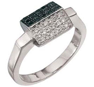 Купить Золотое кольцо 2772, Кольцо с чёрным и белым бриллиантами. Кольцо с чёрным и белым бриллиантами. Вставки: 18 бриллиантов, огранка круг 57 граней, вес 0.147 карат, цвет 4, чистота 5, 15 чёрный бриллиантов, вес 0.154 карат. Белое золото 750., Ювелирное изделие