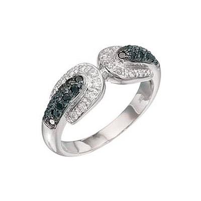 Купить Золотое кольцо 2773, Кольцо с чёрным и белым бриллиантами. Кольцо с чёрным и белым бриллиантами. Вставки: 18 бриллиантов, огранка круг 57 граней, вес 0.229 карат, цвет 3, чистота 5, 22 чёрный бриллианта, вес 0.238 карат. Белое золото 750., Ювелирное изделие
