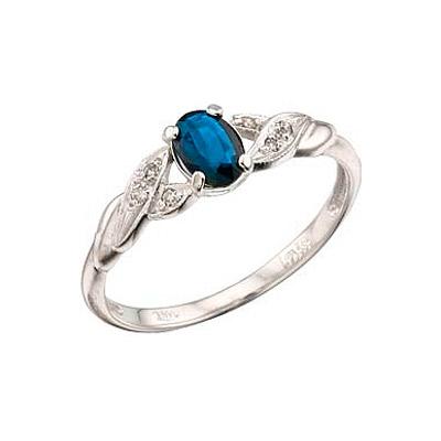 Кольцо с бриллиантом и сапфиром из белого золота,артикул 25422.