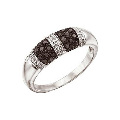 Купить Золотое кольцо 29555, Кольцо с черным и белым бриллиантами. Белое золото 585 пробы. Вставки: 26 бриллиантов, огранка круг 17 граней, вес 0.27 карат, цвет 2, чистота 3, 9 чер. бриллиантов, огранка круг 57 граней, вес 0.05 карат., Ювелирное изделие