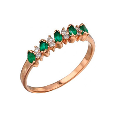 Кольцо с бриллиантом и изумрудом. Красное золото. 8 бриллиантов, огранка круг 17 граней, вес 0.06 карат, цвет 2, чистота 3, 5 изумрудов, вес 0.35 карат, цвет 3, чистота 3. - Золотое кольцо  3078