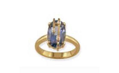Купить Золотое кольцо 32452, Кольцо с синт. топазом и фианитом, Золотое покрытие. ., Ювелирное изделие