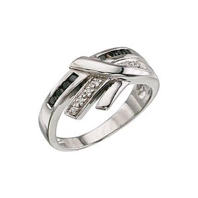 Купить Золотое кольцо 3357, Кольцо с чёрным и белым бриллиантами. Белое золото. 6 бриллиантов, огранка круг 17 граней, вес 0.05 карат, цвет 2, чистота 3, 8 чёрный бриллиантов, огранка круг 57 граней, вес 0.15 карат., Ювелирное изделие