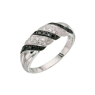 Купить Золотое кольцо 3360, Кольцо с чёрным и белым бриллиантами. Белое золото. 20 бриллиантов, огранка круг 17 граней, вес 0.15 карат, цвет 3, чистота 3, 21 чёрный бриллиант, огранка круг 57 граней, вес 0.17 карат., Ювелирное изделие