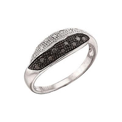 Купить Золотое кольцо 3361, Кольцо с чёрным и белым бриллиантами. Белое золото. 7 бриллиантов, огранка круг 17 граней, вес 0.035 карат, цвет 2, чистота 3, 9 чёрный бриллиантов, огранка круг 57 граней, вес 0.07 карат., Ювелирное изделие