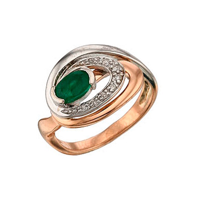 Купить Золотое кольцо 34438, Кольцо с бриллиантом и изумрудом Красное золото 585 пробы. Вставки: 8 бриллиантов, огранка круг 17 граней, вес 0.05 карат, цвет 3, чистота 4, 1 изумруд, вес 0.44 карат, чистота 4., Ювелирное изделие