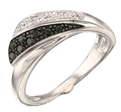 Купить Золотое кольцо 34520, Кольцо с черным и белым бриллиантами. Золото 585 пробы. Вставка: 5 бриллиантов, огранка круг 17 граней, вес 0.03 карат, цвет 2, чистота 3 11 чер. бриллиантов, вес 0.11 карат., Ювелирное изделие