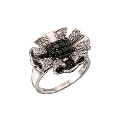 Купить Золотое кольцо 34523, Кольцо с черным и белым бриллиантами. Золото 585 пробы. Вставка: 32 бриллианта, огранка круг 17 граней, вес 0.24 карат, цвет 2, чистота 3 12 чер. бриллиантов, вес 0.33 карат., Ювелирное изделие