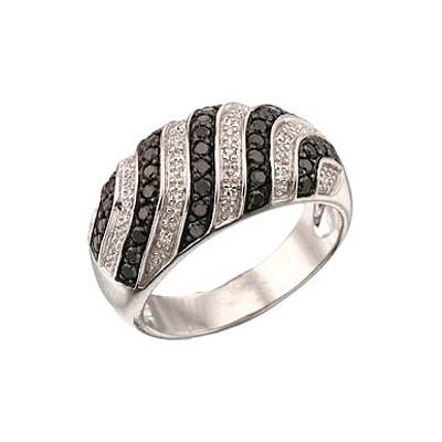 Купить Золотое кольцо 34528, Кольцо с чёрным и белым бриллиантами. Белое золото 585. 16 бриллиантов, вес 0.08 карат, цвет 2, чистота 3, 37 чёрных бриллиантов, вес 0.555 карат., Ювелирное изделие