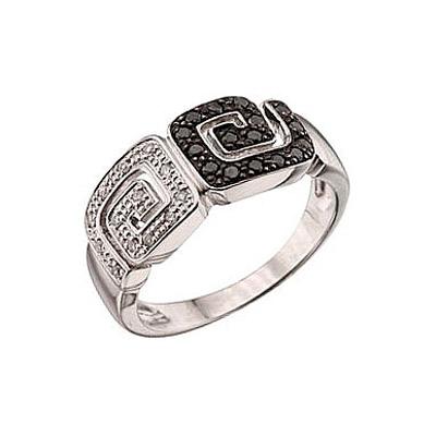 Купить Золотое кольцо 40159, Кольцо с чёрным и белым бриллиантами Белое золото 585 пробы. Вставки: 13 бриллиантов, огранка круг 17 граней, вес 0.065 карат, цвет 2, чистота 3, 16 чёрный бриллиантов, огранка круг 57 граней, вес 0.22 карат., Ювелирное изделие