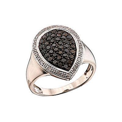 Купить Золотое кольцо 41329, Кольцо с чёрным и белым бриллиантами Белое золото 585 пробы. Вставки: 15 бриллиантов, огранка круг 17 граней, вес 0.075 карат, цвет 3, чистота 3, 40 чёрный бриллиантов, огранка круг 57 граней, вес 0.32 карат., Ювелирное изделие