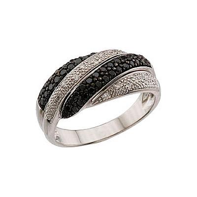 Купить Золотое кольцо 62739, Кольцо с чёрным и белым бриллиантами. Белое золото. 16 бриллиантов, огранка круг 17 граней, вес 0.08 карат, цвет 2, чистота 2, 43 чёрный бриллианта, огранка круг 57 граней, вес 0.6 карат., Ювелирное изделие