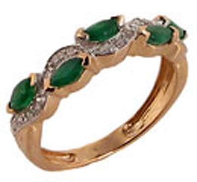 Купить Золотое кольцо 63768, Кольцо с бриллиантом и изумрудом. Кольцо с бриллиантом и изумрудом. Вставки: 20 бриллиантов, огранка круг 17 граней, вес 0.1 карат, цвет 3, чистота 2, 5 изумрудов, вес 0.42 карат, чистота 3. Красное золото 585., Ювелирное изделие
