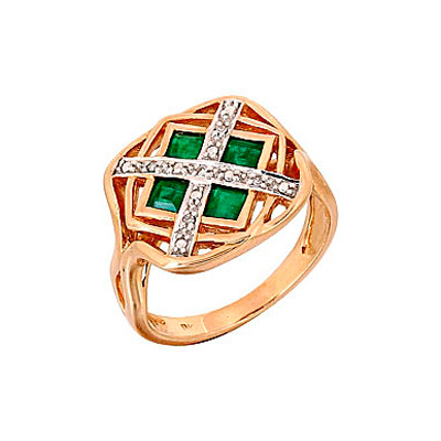 Купить Золотое кольцо 68988, Кольцо с бриллиантом и изумрудом. Красное золото. 5 бриллиантов, огранка круг 17 граней, вес 0.02 карат, цвет 2, чистота 3, 4 изумруда, вес 0.6 карат, цвет 3, чистота 3., Ювелирное изделие