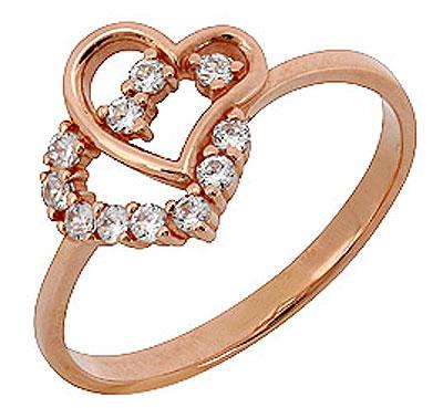 Золотое кольцо 73181 - Ювелирное изделиеКольцо с фианитом. Красное золото 585.br
