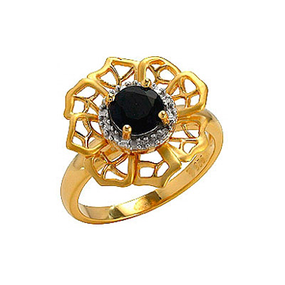 Кольцо с сапфиром,фианитом и золотым покрытием. Серебро 925. - Серебряное кольцо  75133