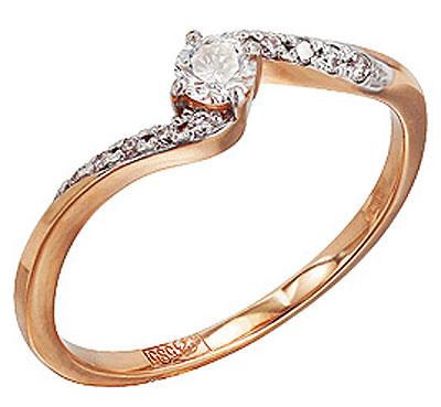 Кольцо с бриллиантами из белого золота,артикул 96057.