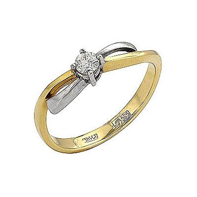 Кольцо с бриллиантом. Золото 585. Примерный вес изделия - 2,13 гр.. - Золотое кольцо  78264
