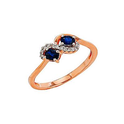 Кольцо с бриллиантом и сапфиром, 12 бриллиантов, вес 0.07 карат, цвет 3, чистота 5, 2 сапфира, вес 0.41 карат, цвет 2, чистота 3, Красное золото 585. - Золотое кольцо  81912