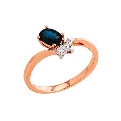 Кольцо с бриллиантом и сапфиром, 3 бриллианта, вес 0.036 карат, цвет 3, чистота 6, 1 сапфир, вес 0.662 карат, цвет 3, чистота 3, Красное золото 585. - Золотое кольцо  82243