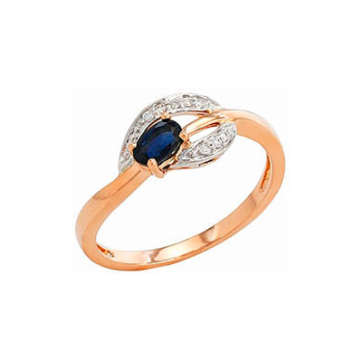 Кольцо с бриллиантом и сапфиром. Красное золото 585, 8 бриллиантов, средний вес камня 0.04 карат, цвет 3, чистота 6, 1 сапфир, средний вес камня 0.298 карат, цвет 2, чистота 2. - Золотое кольцо  82254