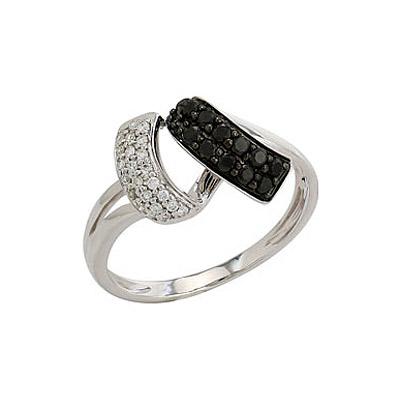 Купить Золотое кольцо 82258, Кольцо с чёрным и белым бриллиантами. Белое золото 585. 22 бриллиантов, вес 0.084 карат, цвет 4, чистота 6, 12 чёрных бриллиантов, вес 0.202 карат., Ювелирное изделие