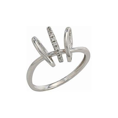 Кольцо с бриллиантами, 10 бриллиантов, вес 0.054 карат, цвет 3, чистота 6, Белое золото 585. - Золотое кольцо  82275