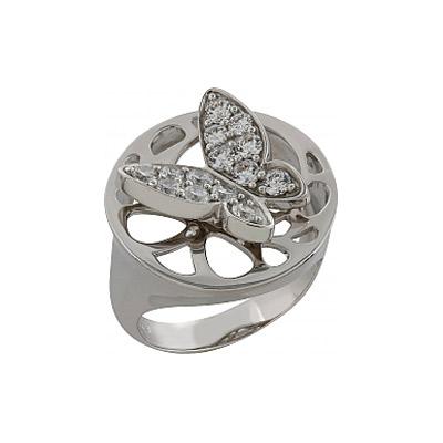 Кольцо с фианитом. Серебро 925. 14 фианитов, вес 6.51 карат. - Серебряное кольцо  82784