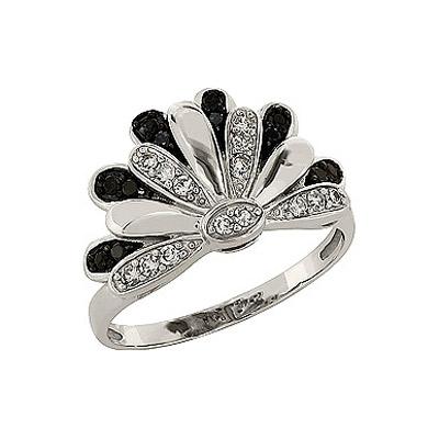 Купить Золотое кольцо 83635, Кольцо с чёрным и белым бриллиантами. Белое золото 585. 14 бриллиантов, вес 0.14 карат, цвет 3, чистота 3, 12 чёрных бриллиантов, вес 0.12 карат., Ювелирное изделие