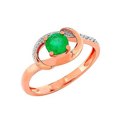 Купить Золотое кольцо 84246, Кольцо с бриллиантом и изумрудом. Красное золото 585, 5 бриллиантов, средний вес камня 0.029 карат, цвет 2, чистота 3, 1 изумруд, средний вес камня 0.443 карат, цвет 3, чистота 2., Ювелирное изделие