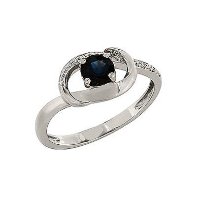 Купить Золотое кольцо 84247, Кольцо с бриллиантом и сапфиром. 5 бриллиантов, вес 0.026 карат, цвет 3, чистота 3, 1 сапфир, вес 0.54 карат, цвет 2, чистота 2. Золото 585., Ювелирное изделие
