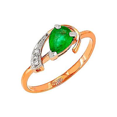 Кольцо с бриллиантом и изумрудом. 3 бриллианта, вес 0.017 карат, цвет 3, чистота 5, 1 изумруд, вес 0.65 карат, цвет 3, чистота 2. Золото 585. - Золотое кольцо  85155