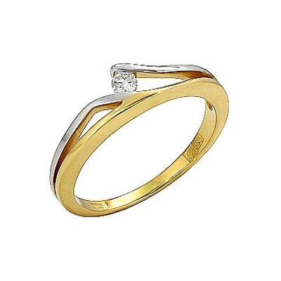 Кольцо с бриллиантом.  Белое золото 585.  1 бриллиант, вес 0.059 карат...