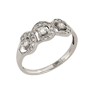 Кольцо с бриллиантом.  Белое золото 585.  3 бриллианта, вес 0.178 карат...