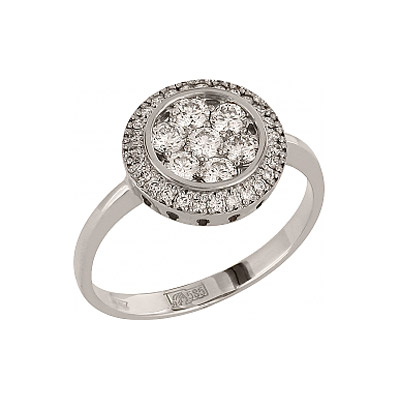 Кольцо с бриллиантом. Белое золото 585. 7 бриллиантов, вес 0.413 карат, цвет 3, чистота 5, 27 бриллиантов, вес 0.135 карат, цвет 3, чистота 5. - Золотое кольцо  96346