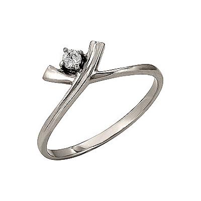 Кольцо с бриллиантом. Белое золото 585. 1 бриллиант, вес 0.06 карат, цвет 2, чистота 5. - Золотое кольцо  96633