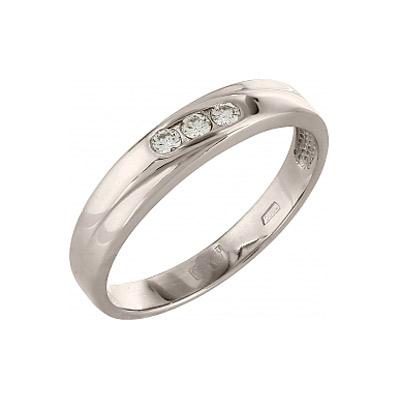 Кольцо с бриллиантом. 3 бриллианта, вес 0.093 карат, цвет 2, чистота 5. Золото 585. - Золотое кольцо  96744