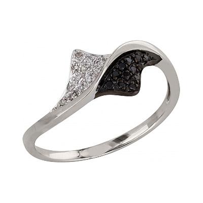 Купить Золотое кольцо 99063, Кольцо с чёрным и белым бриллиантами. Белое золото 585. 12 чёрных бриллиантов, вес 0.054 карат, 12 бриллиантов, вес 0.038 карат, цвет 2, чистота 3., Ювелирное изделие