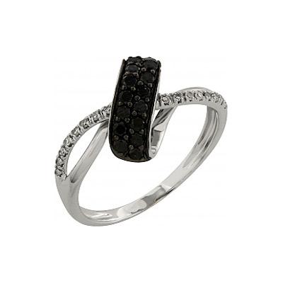 Купить Золотое кольцо 99135, Кольцо с чёрным и белым бриллиантами. 16 чёрных бриллиантов, вес 0.267 карат, 16 бриллиантов, вес 0.062 карат, цвет 3, чистота 3. Золото 585., Ювелирное изделие