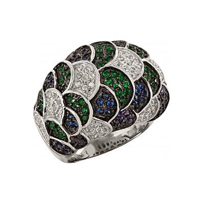 Купить Серебряное кольцо 99610, Кольцо с фианитом. Серебро 925. 36 фианитов, вес 0.72 карат, 57 фианитов, вес 1.13 карат, 39 фианитов, вес 0.78 карат, 75 фианитов, вес 1.5 карат., Ювелирное изделие