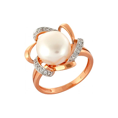 Кольцо с жемчугом и фианитом. Красное золото 585. 21 фианитов, вес 0.031 карат, 1 жемчуг, вес 1.221 карат. - Золотое кольцо  99696