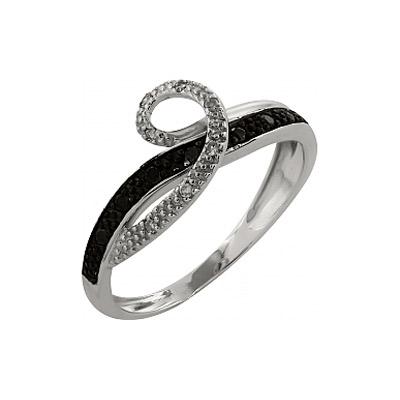 Купить Золотое кольцо 99866, Кольцо с чёрным и белым бриллиантами. Белое золото 585. 7 бриллиантов, вес 0.07 карат, цвет 2, чистота 3, 7 чёрных бриллиантов, вес 0.035 карат., Ювелирное изделие
