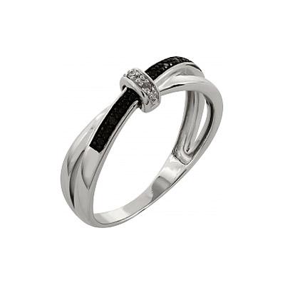 Купить Золотое кольцо 99867, Кольцо с чёрным и белым бриллиантами. 2 бриллианта, вес 0.01 карат, цвет 2, чистота 3, 9 чёрных бриллиантов, вес 0.045 карат. Золото 585., Ювелирное изделие