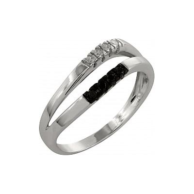 Купить Золотое кольцо 99870, Кольцо с чёрным и белым бриллиантами. Белое золото 585. 4 бриллианта, вес 0.04 карат, цвет 2, чистота 3, 4 чёрных бриллианта, вес 0.04 карат., Ювелирное изделие
