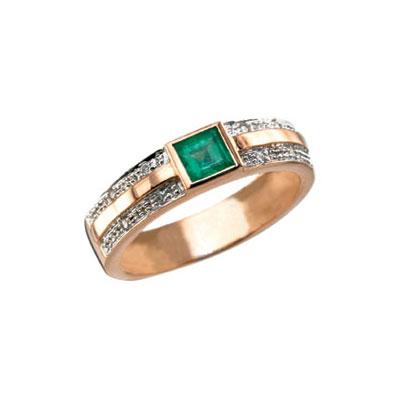 Кольцо с бриллиантом и изумрудом. . Красное золото. . 8 бриллиантов, огранка круг 17 граней, вес 0.04 карат, цвет 3