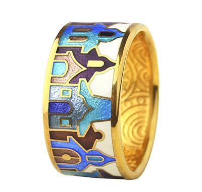 Купить Серебряное кольцо dr25, Позолоченное серебряное кольцо с эмалью. Серебро 925 пробы. Вес: 7-8 гр. Ширина 10 мм.., Ювелирное изделие