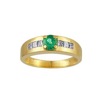Купить Золотое кольцо 00241RS, Кольцо с бриллиантами и изумрудом. 6 бриллиантов 0, 27 карат; 1 изумруд 0, 37 карат;. Материал: желтое золото 750 пр. Средний вес: 5.71 гр.., Ювелирное изделие