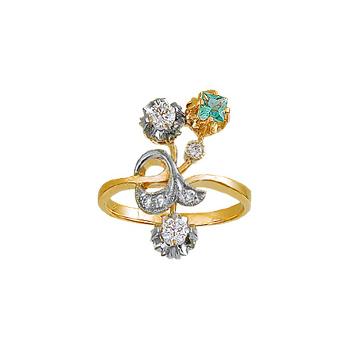 Купить Золотое кольцо 00519RS, Кольцо с бриллиантами и изумрудом. 4 бриллианта 0, 08 карат; 2 бриллианта 0, 36 карат; 1 изумруд 0, 16 карат;. Материал: желтое золото 750 пр. Средний вес: 5.84 гр.., Ювелирное изделие