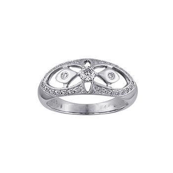 Купить Золотое кольцо 10225RS, Кольцо с бриллиантами. 33 бриллианта 0, 38 карат;. Материал: белое золото 585 пр. Средний вес: 4.41 гр.., Ювелирное изделие
